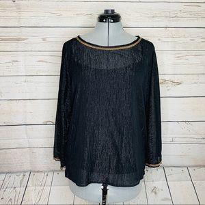 Isaac Mizrahi womens top Size 6 black long sleeve